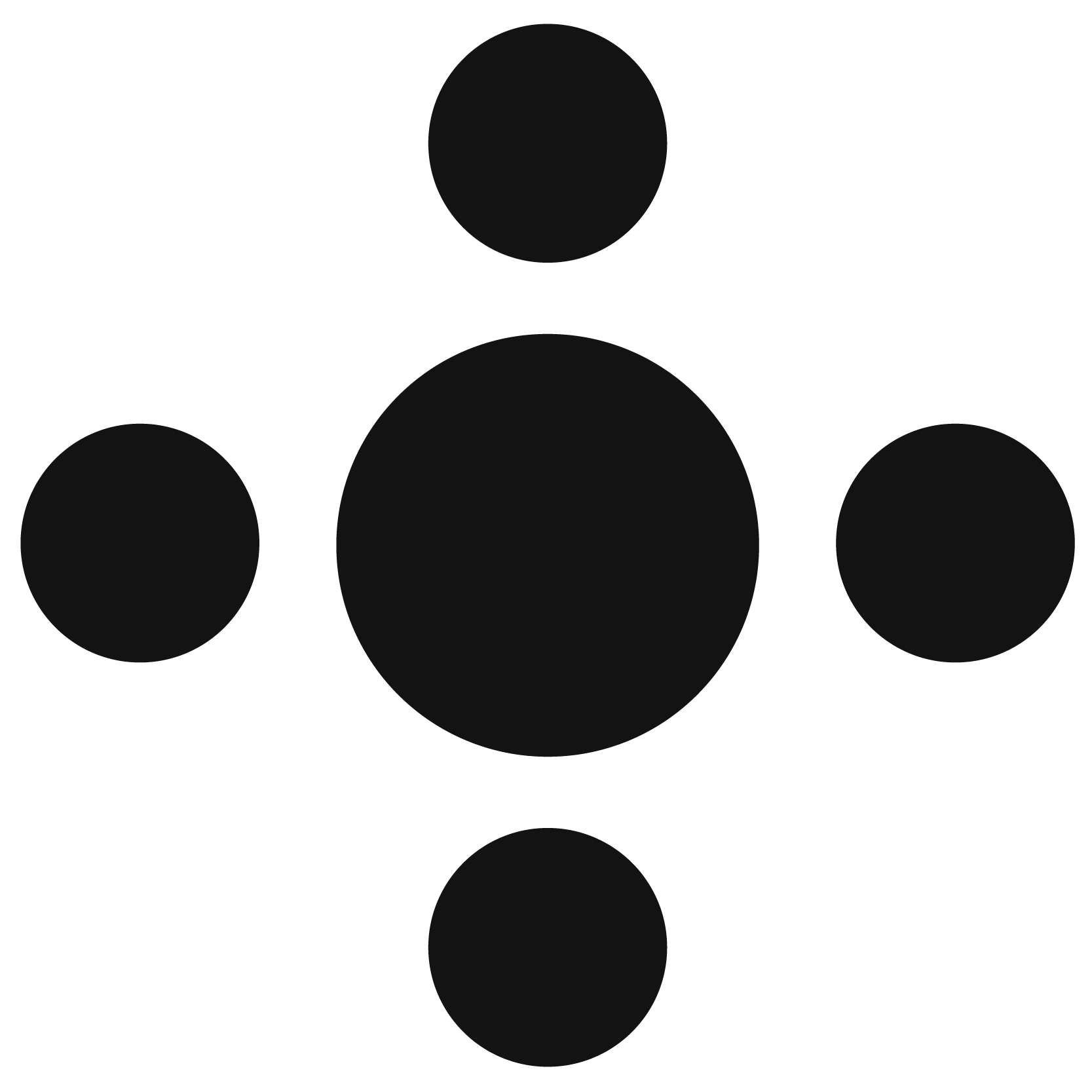 four dots encircling a dot